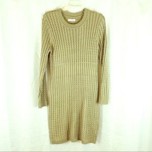 CALVIN KLEIN Cable Knit Sweater Dress Tan L